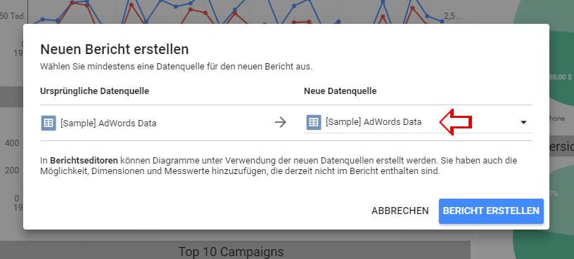 AdWords Dashboard Datenquelle auswählen