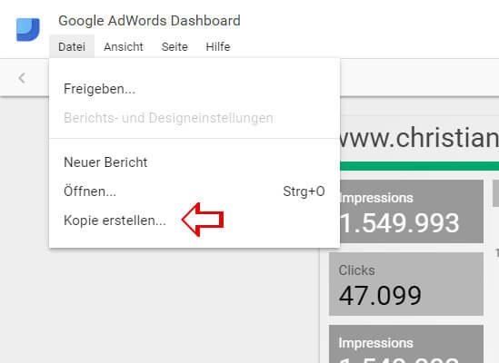 AdWords Dashboard Kopie erstellen