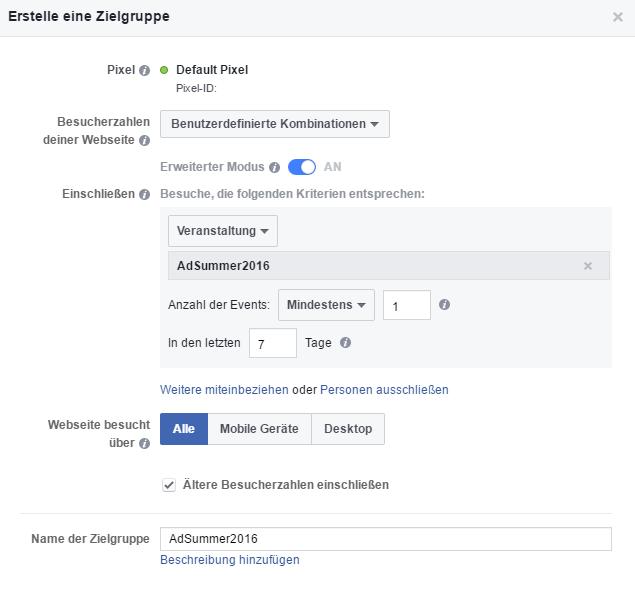 Frequency Capping bei Facebook: Schritt 2